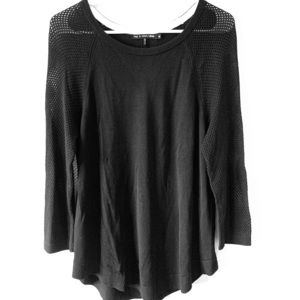 Rag and bone black sweater with mesh sleeves